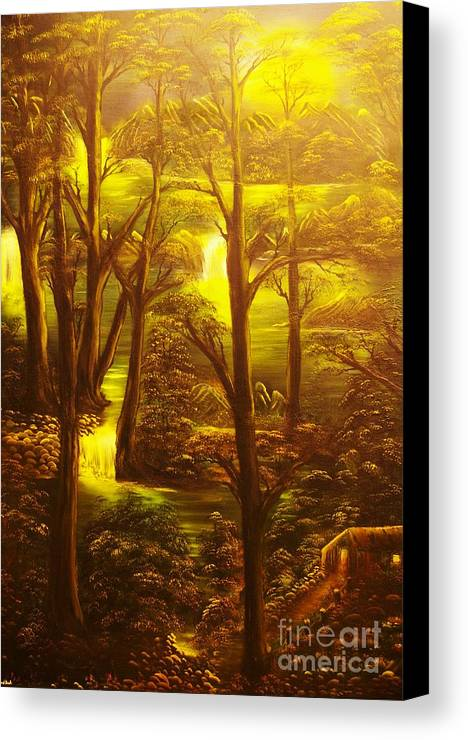 Path Canvas Print featuring the painting Glowing Evening Falls-original Sold- Buy Giclee Print Nr 28 Of Limited Edition Of 40 Prints  by Eddie Michael Beck