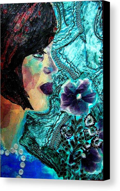 Mixed Media Portrait Canvas Print featuring the mixed media Ilana by Diane Fine