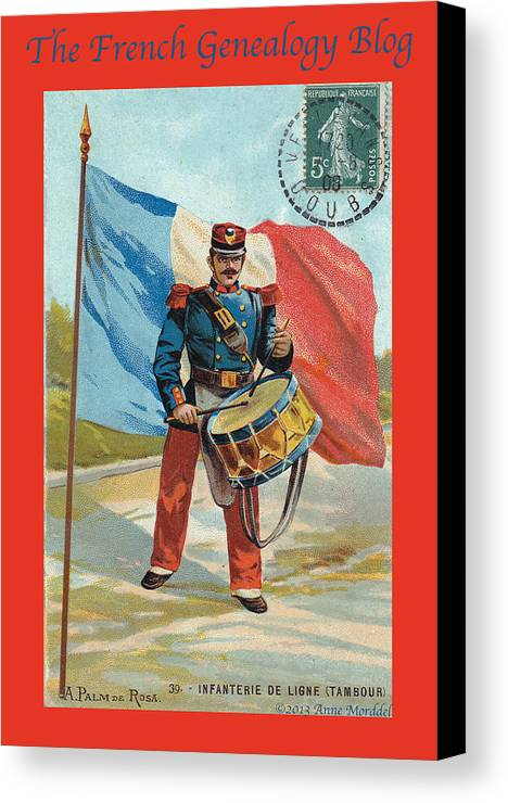 France Canvas Print featuring the photograph Infantry Of The Line Drummer With Fgb Border by A Morddel