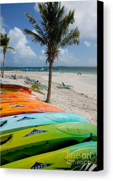 Bahamas Canvas Print featuring the photograph Kayaks On The Beach by Amy Cicconi