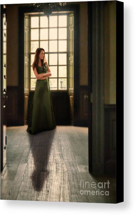 Beautiful Canvas Print featuring the photograph Lady In Green Gown By Window by Jill Battaglia