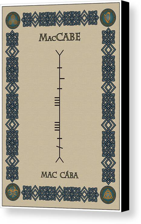 Maccabe Canvas Print featuring the digital art Maccabe Written In Ogham by Ireland Calling