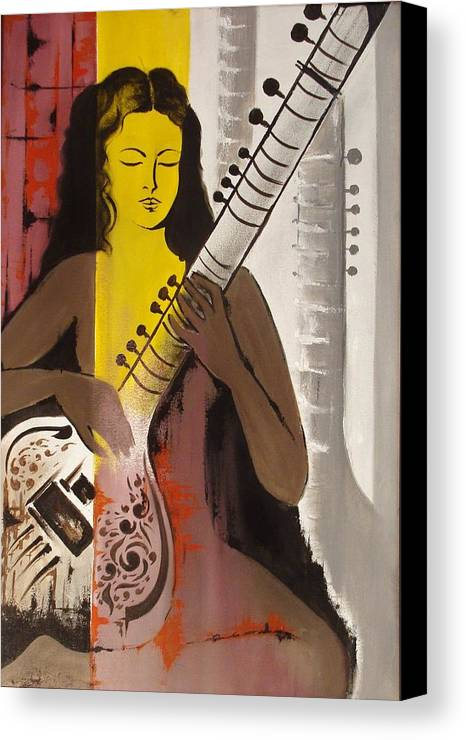 Portrait Canvas Print featuring the painting Meditation With Music by Aashish Moga