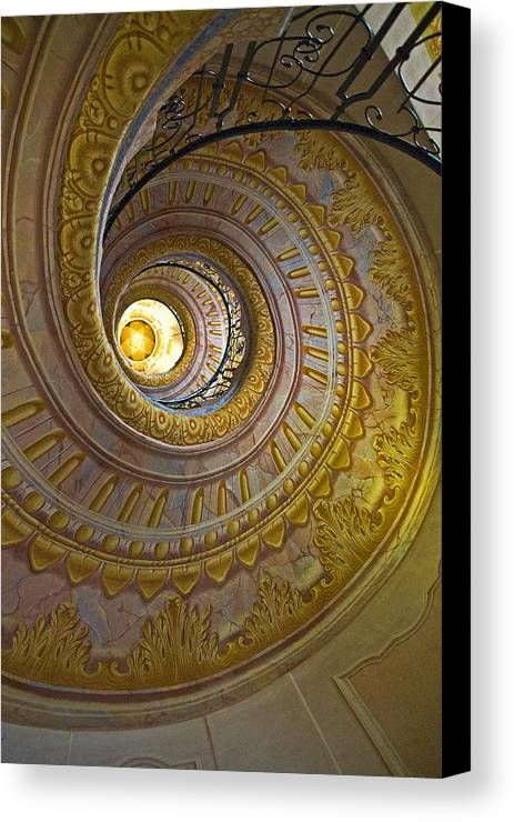 Melk Canvas Print featuring the photograph Melk Abbey Spiral Staircase by Alida Thorpe