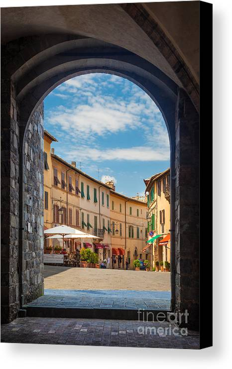 Europe Canvas Print featuring the photograph Montalcino Loggia by Inge Johnsson