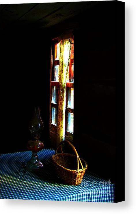 Cabin Canvas Print featuring the photograph Old Cabin Table With Lamp And Basket by Julie Dant