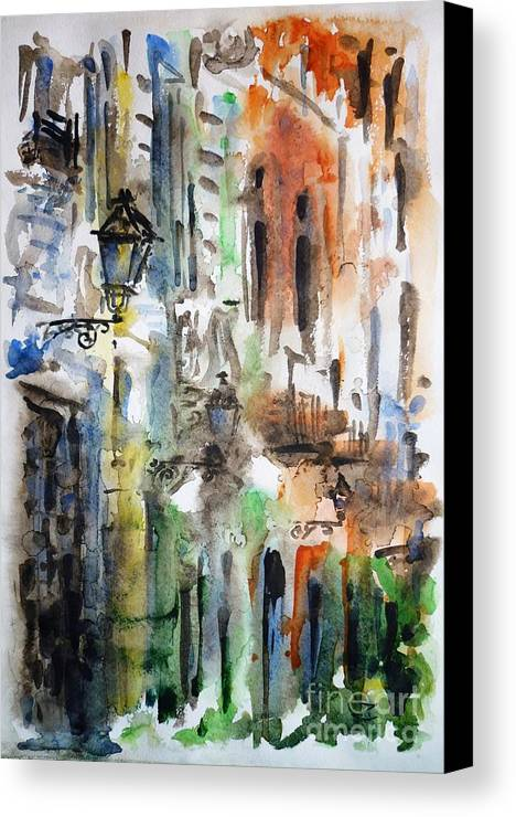 Old Canvas Print featuring the painting Old Houses Of San Juan by Zaira Dzhaubaeva