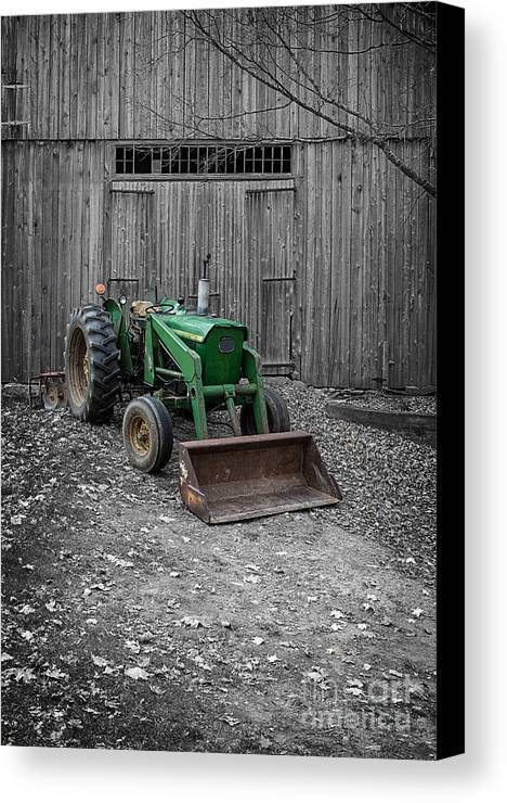 Barn Canvas Print featuring the photograph Old John Deere Tractor by Edward Fielding