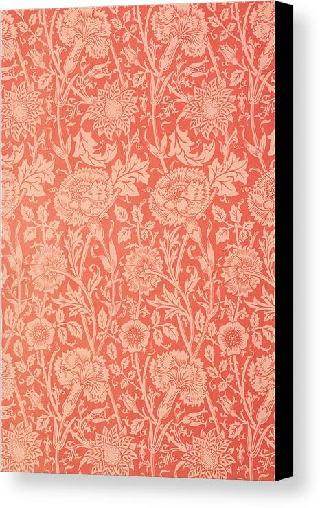 Pattern Canvas Print featuring the tapestry - textile Pink And Rose Wallpaper Design by William Morris