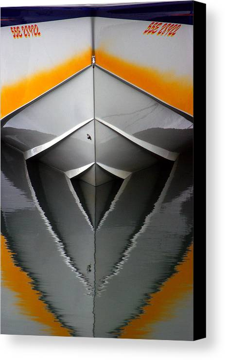 Boat Canvas Print featuring the photograph Pointy End Reflection by Paul Wash