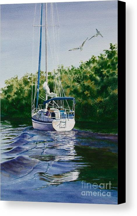 Sailboat Canvas Print featuring the painting Ponce De Leon Passage by Karol Wyckoff