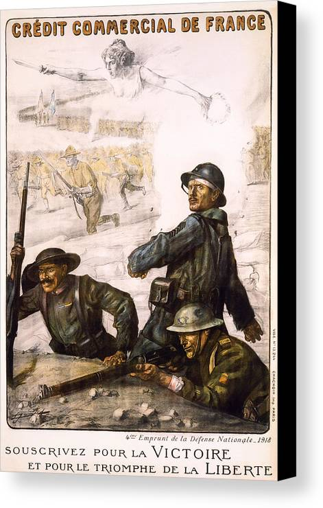 world War Canvas Print featuring the photograph Pour La Victoire - W W 1 - 1918 by Daniel Hagerman
