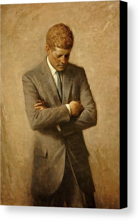 Kennedy Canvas Print featuring the painting President John F. Kennedy Official Portrait By Aaron Shikler by Movie Poster Prints