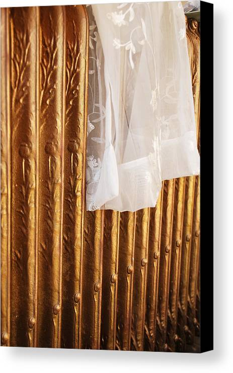 Radiator Canvas Print featuring the photograph Radiator And Curtain by Penny Parrish