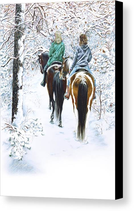 Snow Canvas Print featuring the drawing Ride Into Faerieland by Jill Westbrook
