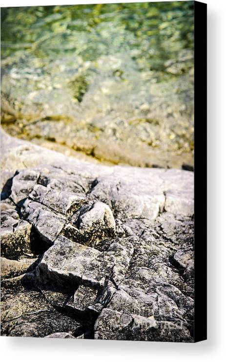 Rock Canvas Print featuring the photograph Rocks At Georgian Bay by Elena Elisseeva