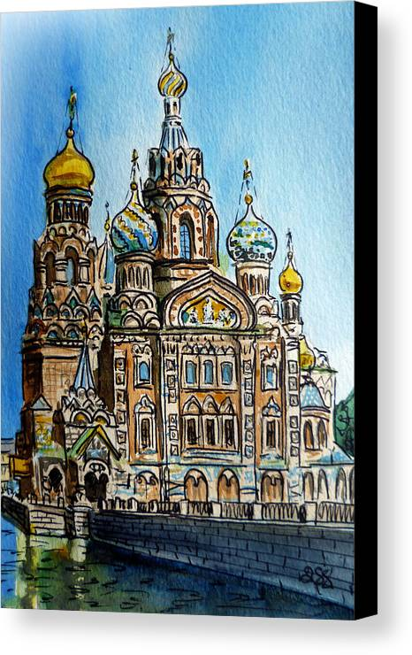 Russia Canvas Print featuring the painting Saint Petersburg Russia The Church Of Our Savior On The Spilled Blood by Irina Sztukowski