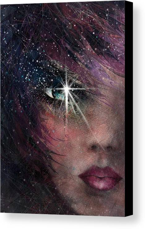 Star Canvas Print featuring the drawing Stars In Her Eyes by Rachel Christine Nowicki
