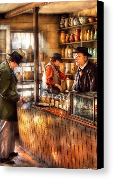 Savad Canvas Print featuring the photograph Store - Ah Customers by Mike Savad