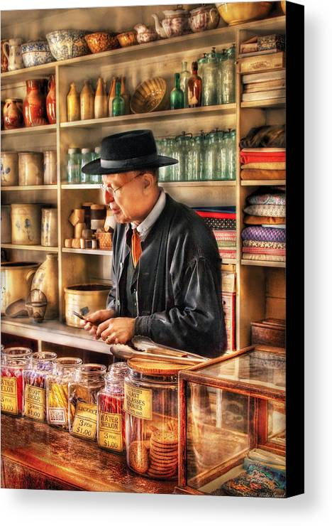 Savad Canvas Print featuring the photograph Store - In The General Store by Mike Savad