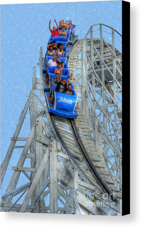 Wooden Roller Coaster Canvas Print featuring the photograph Summer Time Thriller by Juli Scalzi