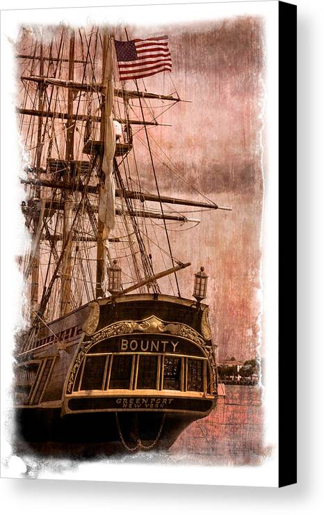 American Canvas Print featuring the photograph The Gleaming Hull Of The Hms Bounty by Debra and Dave Vanderlaan