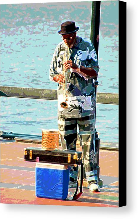 Soprano Saxophone Canvas Print featuring the photograph The Music Man by Suzanne Gaff
