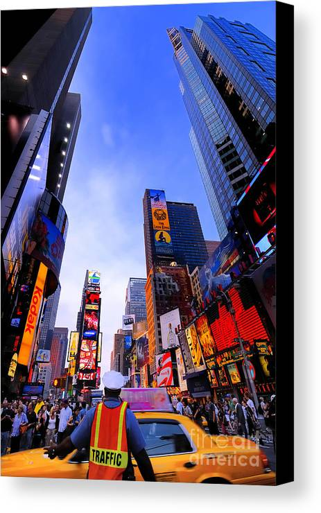 Ads Canvas Print featuring the photograph Traffic Cop In Times Square New York City by Amy Cicconi