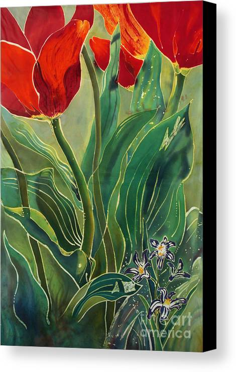 Batik Canvas Print featuring the painting Tulips And Pushkinia by Anna Lisa Yoder