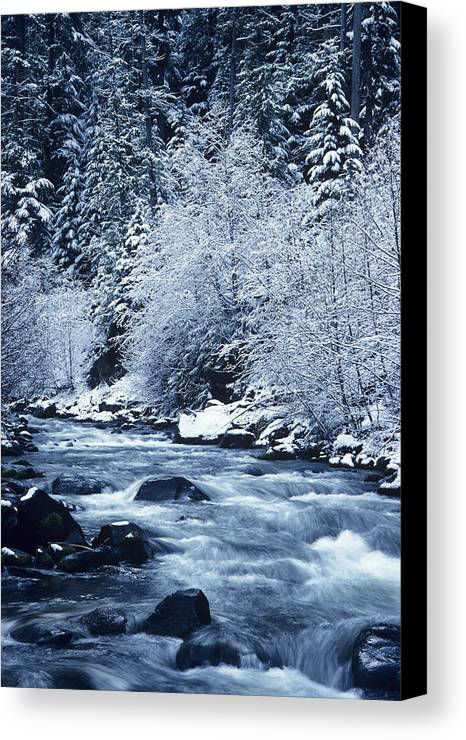 Ice Canvas Print featuring the photograph Usa, Willamette National Forest Oregon by Greg Vaughn