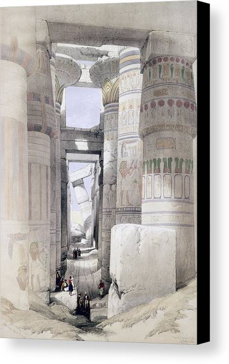 Ruins Canvas Print featuring the drawing View Through The Hall Of Columns by David Roberts