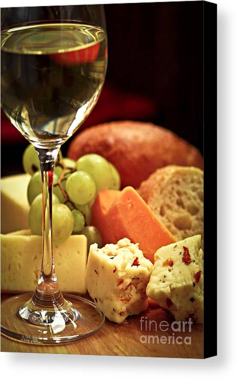 Cheese Canvas Print featuring the photograph Wine And Cheese by Elena Elisseeva