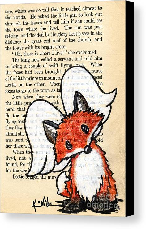 Fox Canvas Print featuring the drawing Winged Fox by Kim Niles