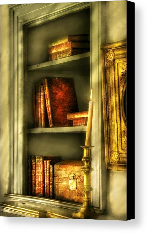 Savad Canvas Print featuring the photograph Writer - In The Library by Mike Savad
