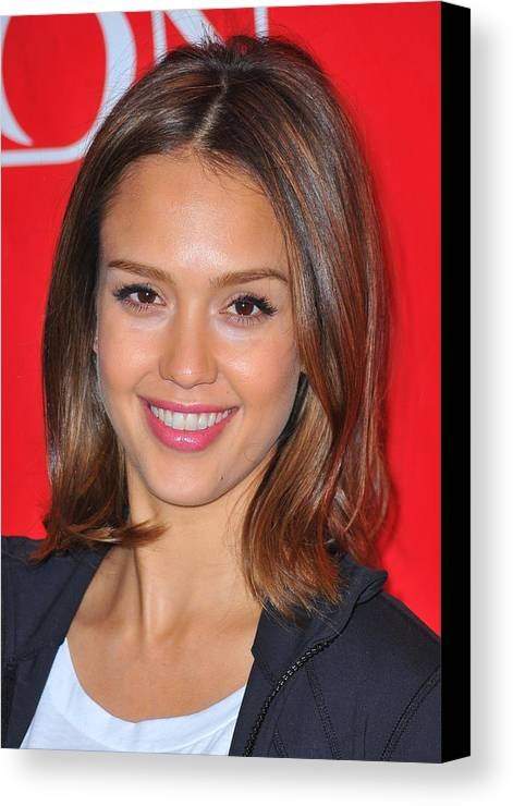 Jessica Alba Canvas Print featuring the photograph Jessica Alba At A Public Appearance by Everett