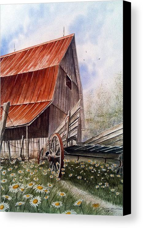 Barn Canvas Print featuring the painting A Time For Daiseys by Don F Bradford