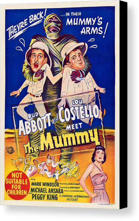 1950s Poster Art Canvas Print featuring the photograph Abbott And Costello Meet The Mummy by Everett