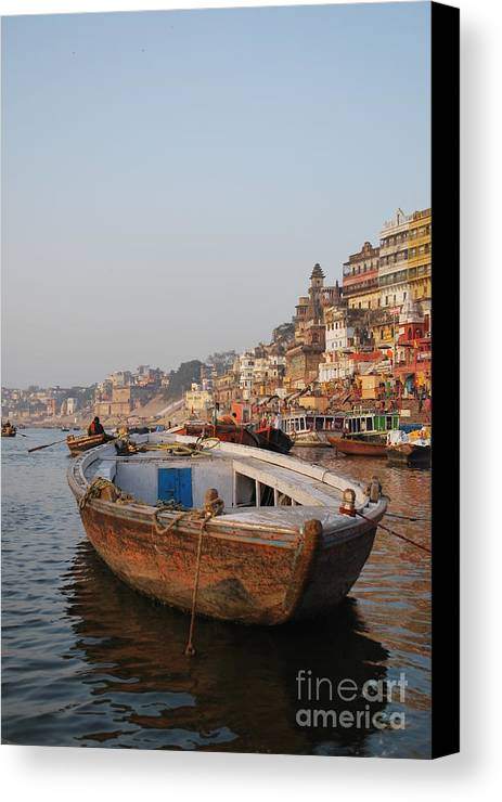 Varanasi Canvas Print featuring the photograph Alone On The Ganges by Jen Bodendorfer