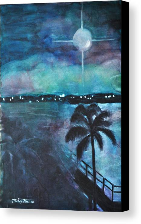 Full Moon Canvas Print featuring the painting Awakening by Mickey Krause