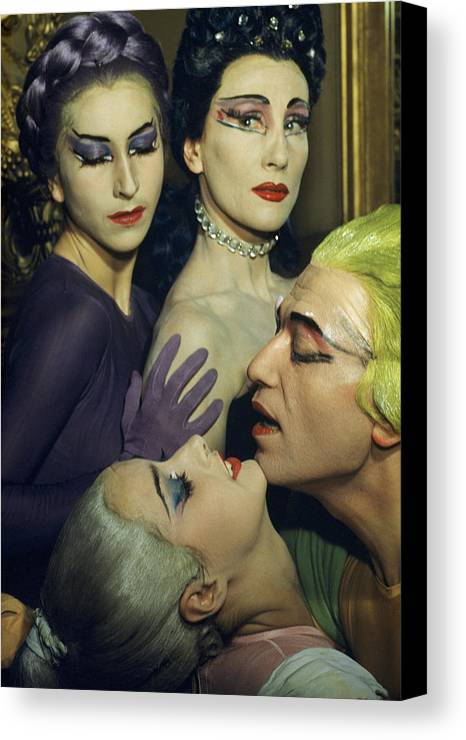 Indoors Canvas Print featuring the photograph Ballet Dancers Appear In A Love Scene by Justin Locke