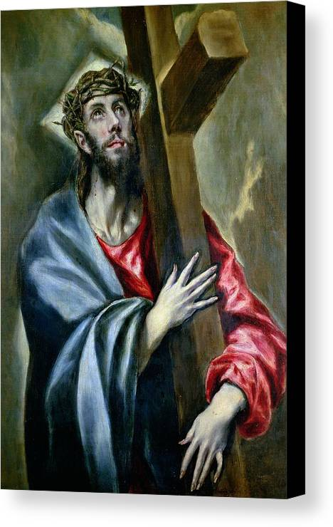 Jesus Canvas Print featuring the painting Christ Clasping The Cross by El Greco