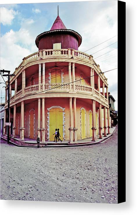 Haiti Canvas Print featuring the photograph Coffee House With Boys Walking by Johnny Sandaire