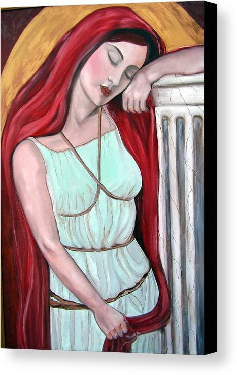 Midevil Woman Canvas Print featuring the painting Day Dreamer by Veronica Zimmerman