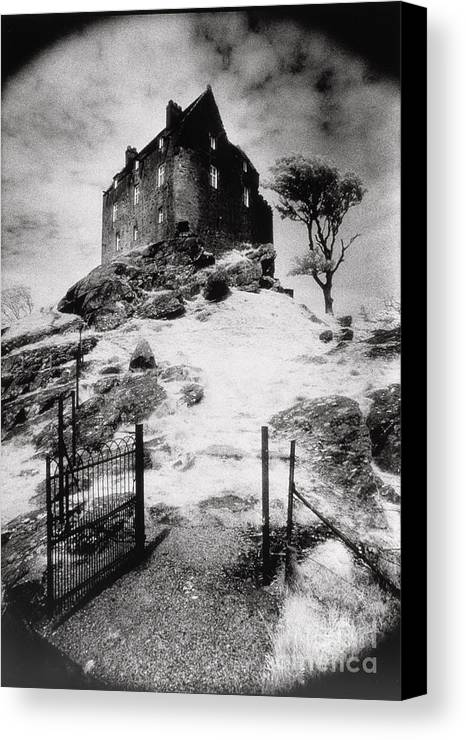 Duntrune; Architecture; Ruin; Ghostly; Eerie; Bleak; Hill; Haunted House Canvas Print featuring the photograph Duntroon Castle by Simon Marsden