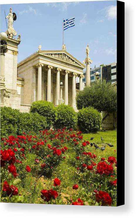 Europe Canvas Print featuring the photograph Exterior Of The Athens Academy, Greece by Richard Nowitz