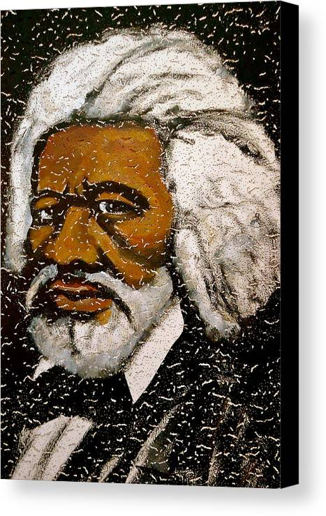 Slave Canvas Print featuring the painting Frederick Douglas by Pete Maier