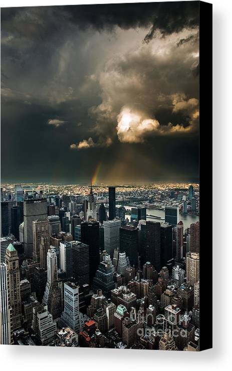 Manhatten Canvas Print featuring the photograph Great Skies Over Manhattan by Hannes Cmarits
