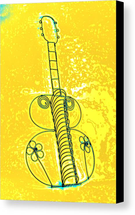 Art Canvas Print featuring the pyrography Guitar 2c by Mauro Celotti