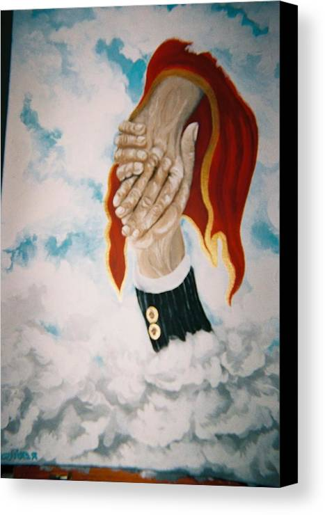 Hands Canvas Print featuring the painting Helping Hand by Richard Erickson