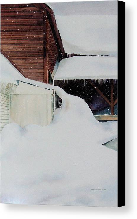 Barn Canvas Print featuring the painting Icicles by Karol Wyckoff